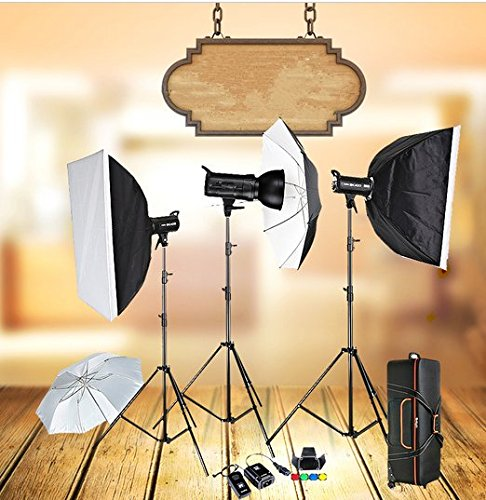 GOWE 3 x 400W Compact Photo Studio Flash Lighting set Digital Photography Strobe Light & Softbox Portrait Kit