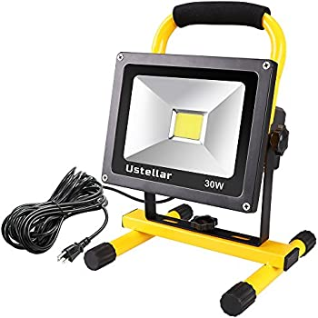 Ustellar 2400LM 30W LED Work Light (200W Equivalent), Waterproof LED Flood Lights, 16ft/5M Cord with Plug, Stand Industrial Working Light for Workshop, Construction Site, 6000K Daylight White