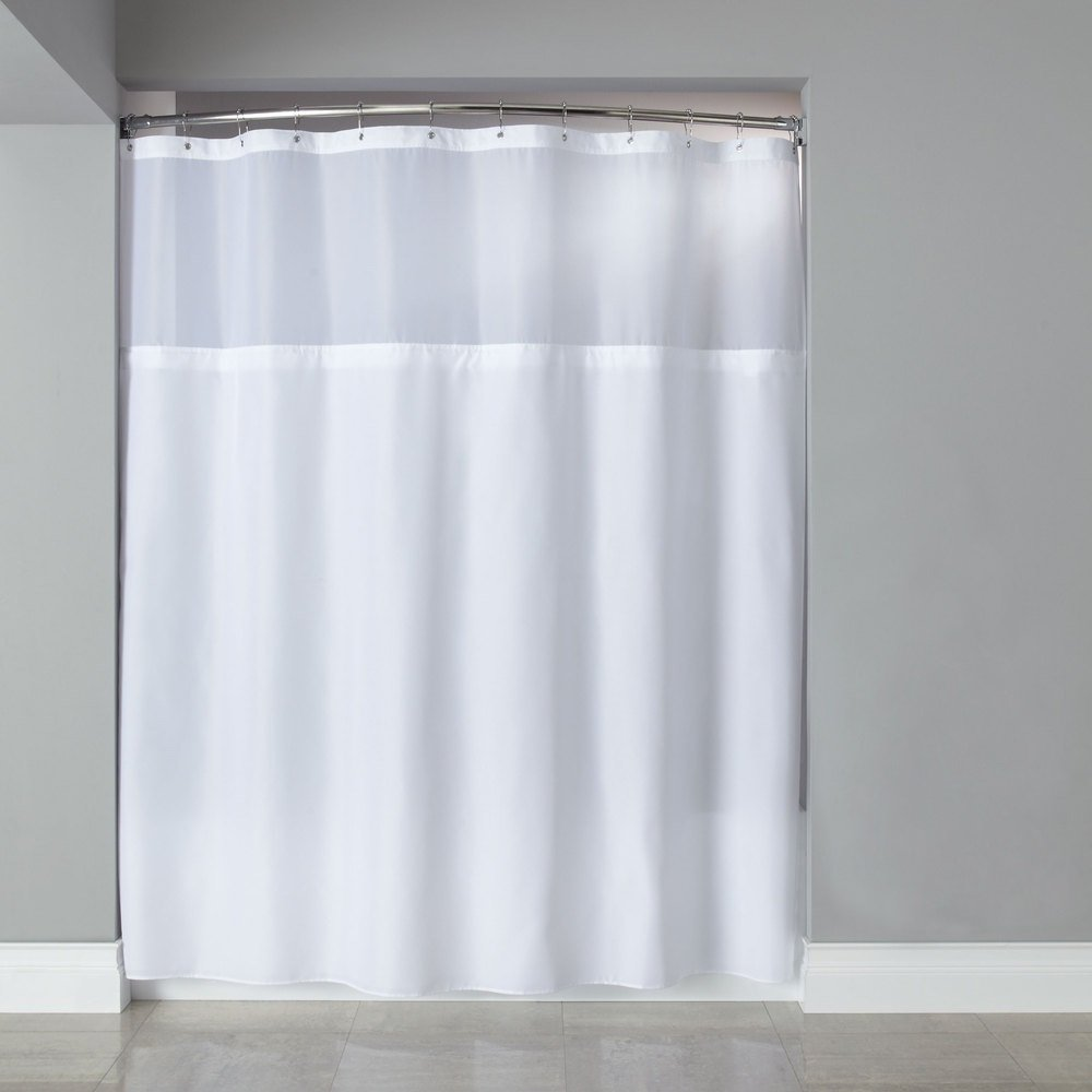 Amazon.com: wendana White Shower Curtain Polyester Clear Shower ...