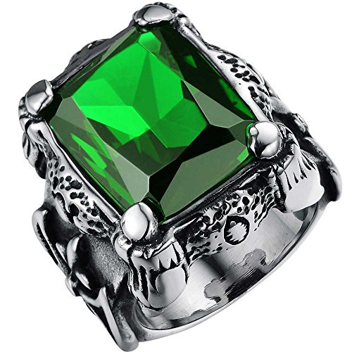 Ring Crystal Deco (XAHH Men's Stainless Steel Square Large Stone Green Crystal Vintage Punk Ring Dragon Claw Celtic Knot Band Size 12)