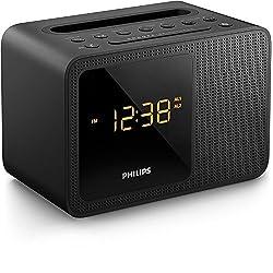 PHILIPS Clock Radio AJT5300 Bluetooth Universal Charging Dual Alarm Fm, Digital Tuning and Speaker Dock for Speakerphone Microphone, Black