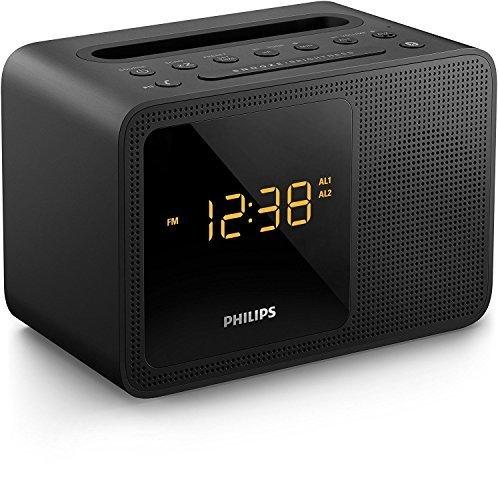 (PHILIPS Clock Radio AJT5300 Bluetooth Universal Charging Dual Alarm Fm, Digital Tuning and Speaker Dock for Speakerphone Microphone, Black)