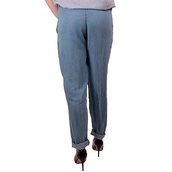 58d02e08b04b Primtex Pantalon jean fluide femme matière jean clair taille élastique   ceinture  noeud-Taille unique  Amazon.fr  Vêtements et accessoires