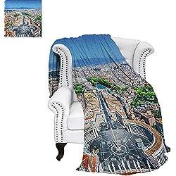 "EuropeanDouble Personal blanketSaint Peters Square in Rome Italian Mediterranean Europe Citscape Urban PrintAir Conditioning Blanket 62""x60"" Multicolor"