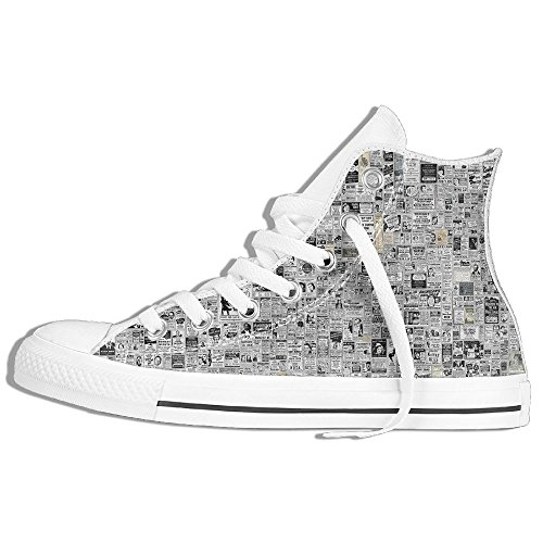 Classiche Sneakers Alte Scarpe Di Tela Antiscivolo Giornale Casual Da Passeggio Per Uomo Donna Bianco