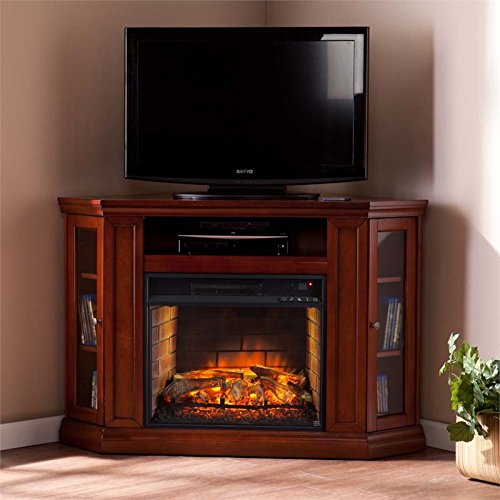 BOWERY HILL Corner Fireplace TV Stand in Mahogany