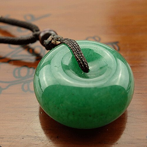 Naomi Chinese Natural Green Jade Hand-carved Harmony Lucky Pendant White one size ()