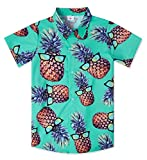 Children's Boys Short Sleeve Hawaiian Luna Blouses Classic Hibiscus 3D Graphic Green Pineapple Island Shirt Teens Santa Button Up Hawaiian Attire Turquoise Beach Holiday T Shirt for 9 Years