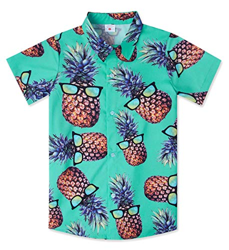 Teen Boys Hawaiian Luau Shirts Size 10T 3D Printing Funny Ananas Pineapple Aloha Tops Summer Beach Juniors Short Sleeve Floral Party Tees Novelty Polo Apparel for Camp Holiday -
