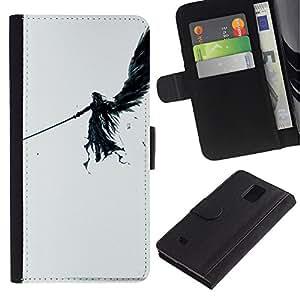 ULTIX Cases / Samsung Galaxy Note 4 SM-N910 / DARK ANGEL / Cuero PU Delgado caso Billetera cubierta Shell Armor Funda Case Cover Wallet Credit Card