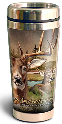 - 16 oz Steel Travel Mug Collage Design (Whitetail Deer)