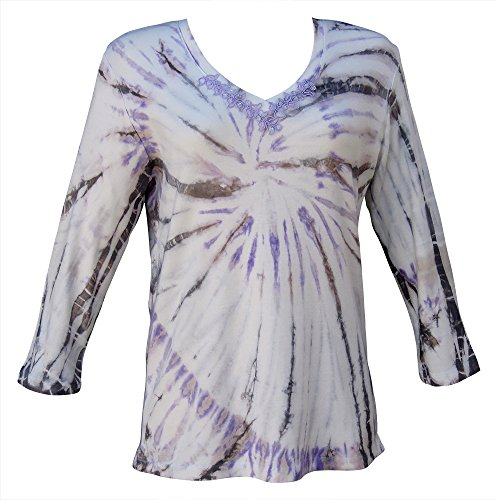 Nature Art Women Cotton Tie Dye Top Sequined V Neck 3/4 Sleeve Shirt Violet S