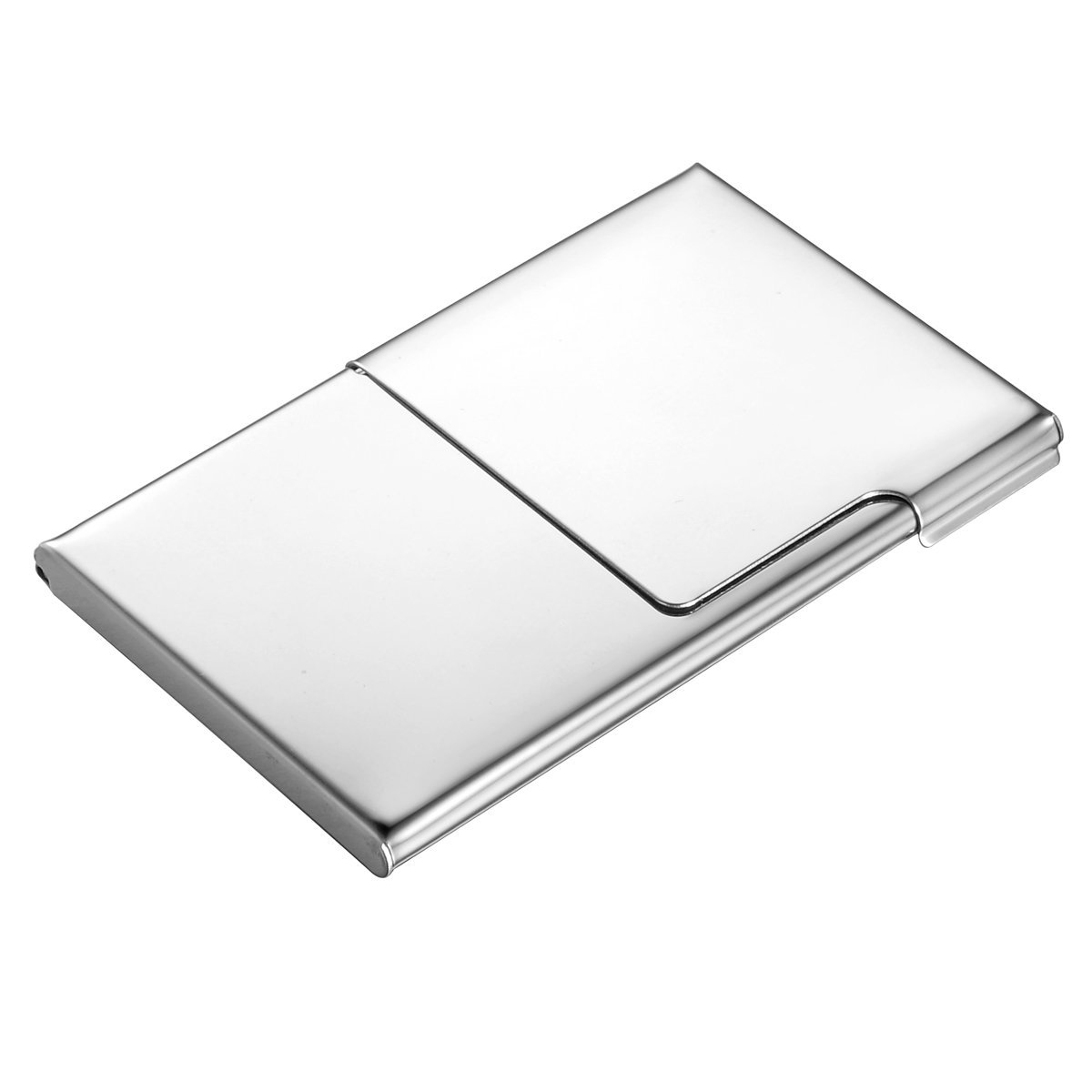HOUSWEETY Stainless Steel Business Name Card Case Holder Silver Tone HOUSWEETYB100708