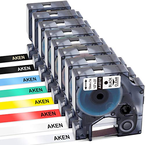 Aken Compatible Label Tape Replacement for DYMO LabelManager 160 210D 260P 280 360D 420P 450D PnP 500TS Label Maker, Black on Red/Yellow/Blue/Green, White/Gold on Black, 1/2 Inch x 23 Feet(12mm x 7m)