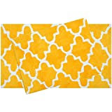 ... Set ) Trellis Design 100% Cotton Tufted Accent Bath Rugs Size 21 X 34 /  17 X 24 Non Skid High Absorbency U0026 Durable Machine Washable Bath Mat (Yellow )
