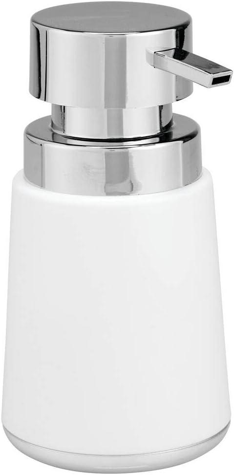 mDesign Modern Plastic Refillable Liquid Soap Dispenser Pump Bottle for Bathroom Vanity Countertop, Kitchen Sink - Holds Hand Soap, Dish Soap, Hand Sanitizer, Essential Oils - White/Chrome