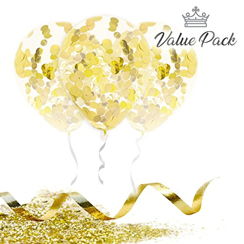 Marca Gold Confetti Balloons | Large 18 Inch Premium Quality Latex | Elegant Foil Balloon Set with Ribbon and Extra Confetti | For Wedding, Birthday, Proposal, Bridal Shower Decorations