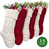 "LimBrige 6 Pack 15"" Small Size Cable Knit Knitted Christmas Stockings, Xmas Rustic Personalized Stocking Decorations for Family Holiday Season Decor, Cream/Burgundy"