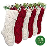 LimBrige 6 Pack 15'' Small Size Cable Knit Knitted Christmas Stockings, Xmas Rustic Personalized Stocking Decorations for Family Holiday Season Decor, Cream/Burgundy