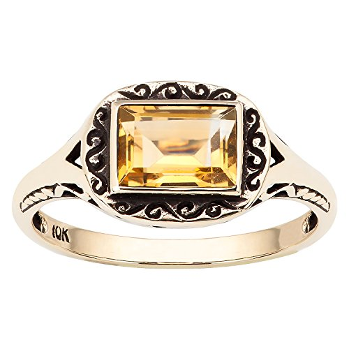 10k Yellow Gold Vintage Style Genuine Emerald-Cut Citrine Scroll Ring - 10k Gold Scroll Ring