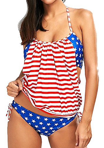 f551ffa20ef34 Yober American Flag Bikini,Womens American USA Flag Stripes Tankini  Swimsuits Push up Padded Two