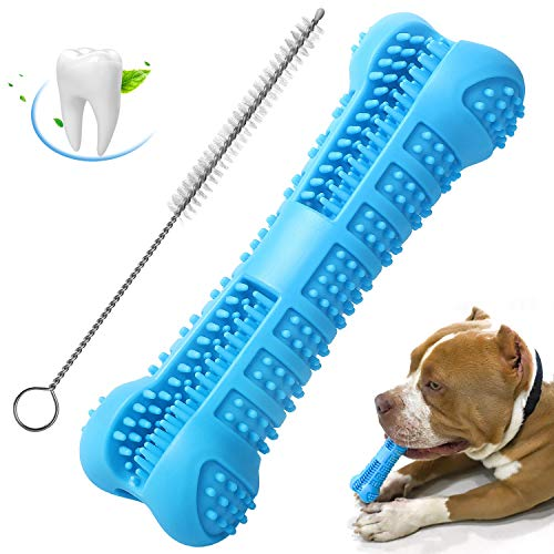 Chooseen Dog Toothbrush Stick Upgraded Dog Chew Toys Bone Bite Resistant Dental Care Effective Teeth Cleaning Blue for Small Medium Dogs Pets -