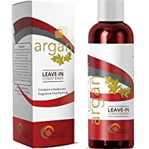 Moroccan Argan Oil Leave in Conditioner for Dry Hair Promotes Hair Growth Natural Hair Care Shine Enhancer and Hair Strengthener for Men and Women with Aloe Keratin Protein 18 Silks and Coconut Oil