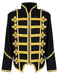 Ro Rox Men's Black Gold Punk MCR Military Drummer Parade Jacket