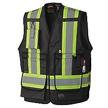 Pioneer V2540370-4XL Flame Resistant Surveyor's Safety Vest, FR-Tech, Black, 4XL