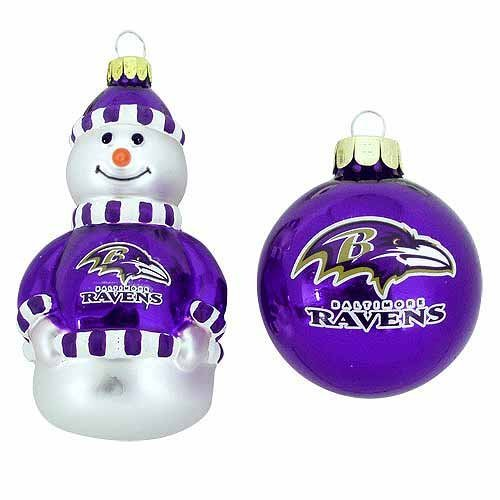 NFL Baltimore Ravens Snowman and Ball Mini Blown Glass Ornaments Nfl Baltimore Ravens Snowman