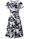 HUHOT Flowy Dress, Women Modest Simple Casual Midi Floral Dress(Flower-5,X-Large)
