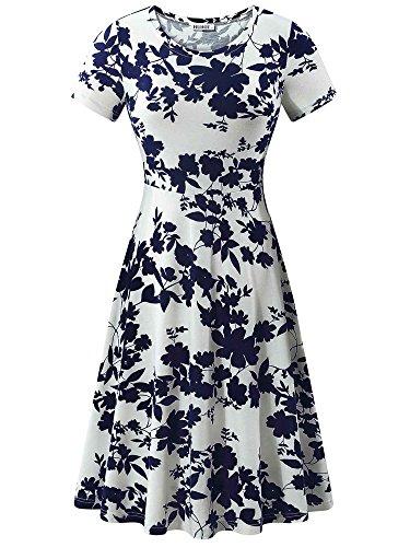 HUHOT Elegant Dresses, Women Summer Casual Vacation Dinner Evening Dress(Floral-5,Medium)