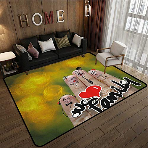 Silky Smooth Bedroom Mats,Family,Happy Finger Family Holding We Love Family Words Hugging Smiling Funny Cute Artwork,Multicolor 71