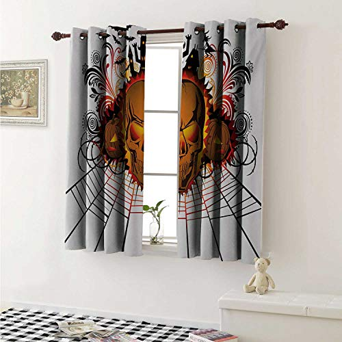 Flyerer Halloween Customized Curtains Angry Skull Face on Bonfire Spirits of Other World Concept Bats Spider Web Design Curtains for Kitchen Windows W63 x L45 Inch Multicolor