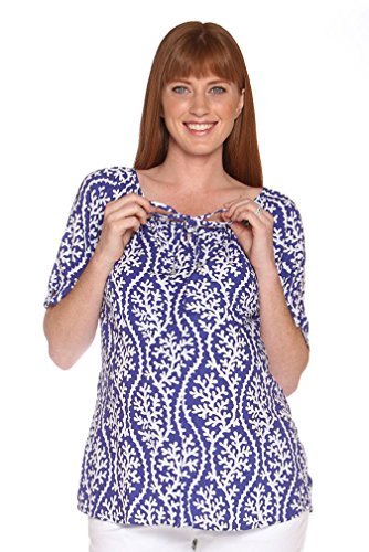 Due Maternity Macy Pregnancy And Beyond Button Front Top - Blue/White - - Sizing Macys