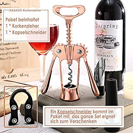 HASAGEI - Sacacorchos para vino rosa y vino (aleación de cinc)
