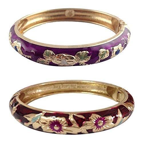 UJOY Women's Bangles Jewelry Flower Carved Alloy Metal Cloisonne Bracelet Sets Gift Box 55A87 Purple
