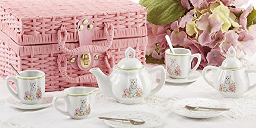 Porcelain Tea Set in Basket, Pink Cat