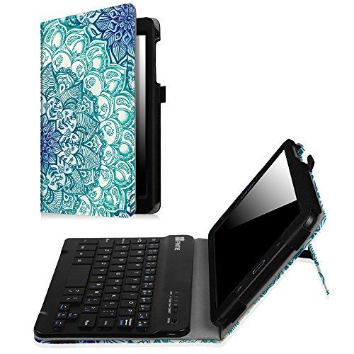 Fintie Keyboard Case for Samsung Galaxy Tab E 8.0, Slim Fit Folio PU Leather Case with Detachable Magnetical Bluetooth Keyboard for Galaxy Tab E 32GB SM-T378/Tab E 8.0 SM-T375/T377, Emerald Illusions