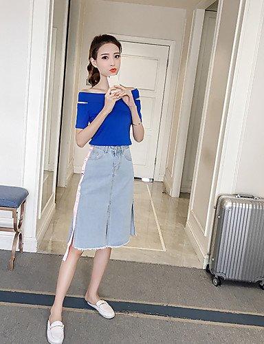 Xuanku Femmes 039;S De Sortir Tous Les Jours D'été Occasionnels Sexy Costumes Jupe T-Shirt Col Bateau Solide,Denim Manches Courtes Micro-élastique bleu Medium