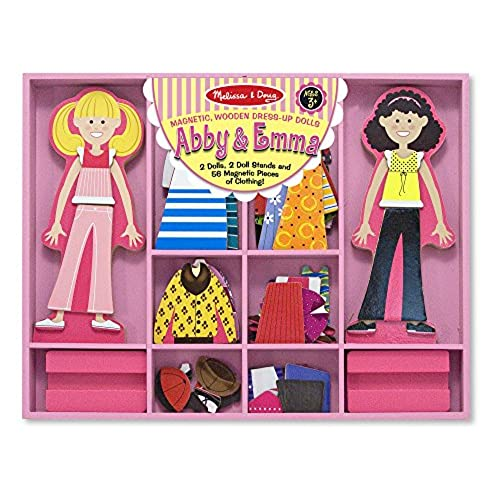 Melissa Doug Abby And Emma Deluxe Magnetic Wooden Dress Up Dolls Play Set 55 Pcs