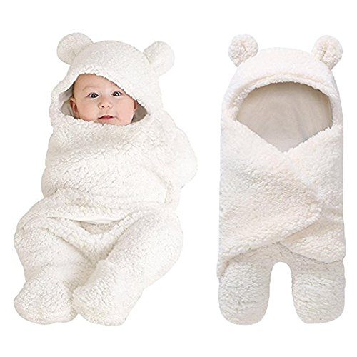 Newborn Baby Boys Girls Cute Cotton Plush Receiving Blanket Sleeping Wrap Swaddle by Pinleck