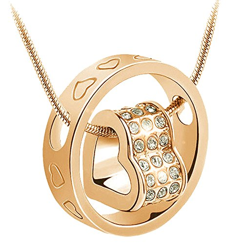 KORPIKUS Gold Colour Metal Jewelled Crystal Hearts Engraved Ring Necklace In Organza Gift Bag - (GOLD COLOUR WITH CLEAR - Heart Bag Jeweled