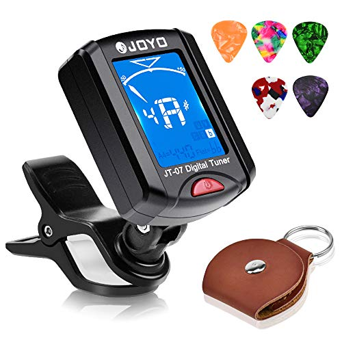 JOYO Guitar Tuner Clip on Chromatic Digital Tuner for Acoustic Guitar, Ukulele, Violin, Bass, Banjo, Mandola with Picks and Picks Holder