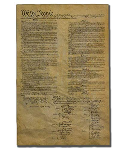 United States Constitution, Authentic Replica Printed on Antiqued Genuine Parchment. 12.5 x 19