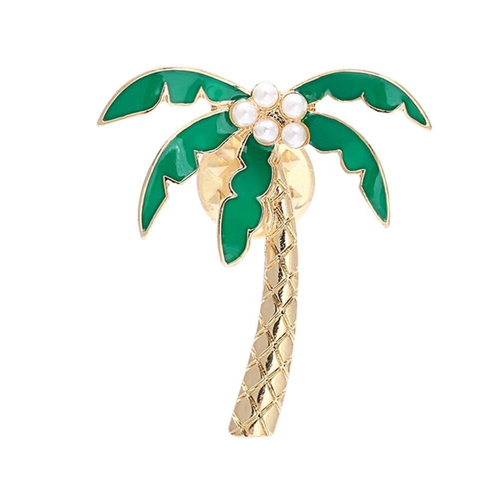 AOCHEE Enamel Coconut Palm Brooch Pin Green Leaves pearl Tree Brooch Lapel Stick Pin For Hat,Bag,Suit Suit (#1) AZBC18080101