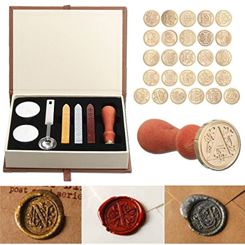 Seal Wax Kit,PUQU Vintage Initial Letters A-Z Alphabet Wax Badge Seal Stamp Kit Wax Set Tool Gift(H) ()