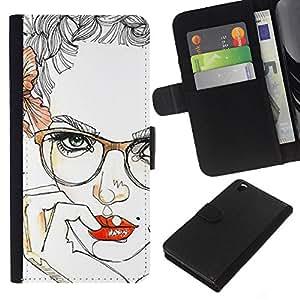 iBinBang / Flip Funda de Cuero Case Cover - Labios Chica Sensual Red Inteligente Gafas - HTC DESIRE 816
