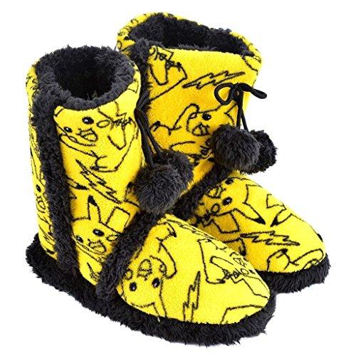 Pikachu Costume Female (Nintendo Pokemon Go Pikachu Womens Fuzzy Boot Slippers Soft Yellow Faux Fur 7-8)