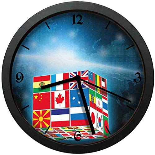 (BCWAYGOD The National Flag Rubiks Cube Wall Clock Nice for Gift or Office Home Unique Decorative Clock Wall Decor 10in with Frame)